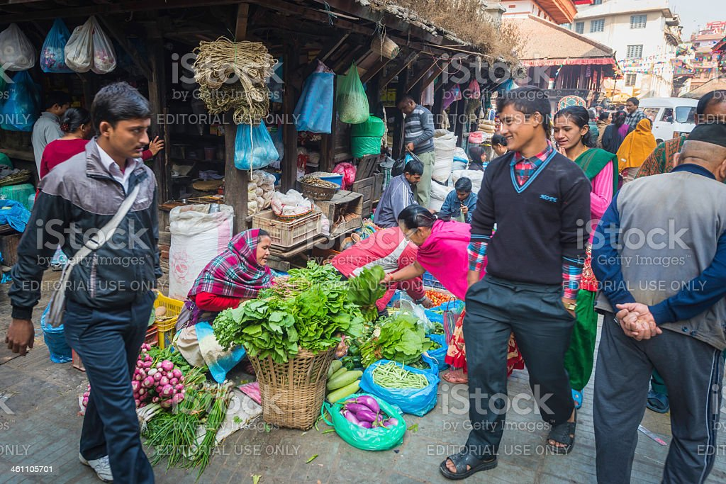 Kathmandu locals shopping in busy market crowded streets Nepal stock photo