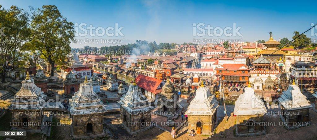 Kathmandu smoke and sadhus at Pashupatinath funeral ghats temples Nepal stock photo