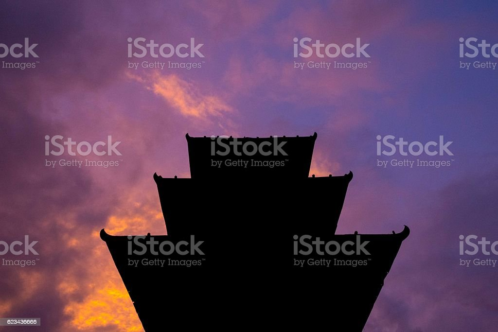 Kathmandu Temple at Dusk stock photo