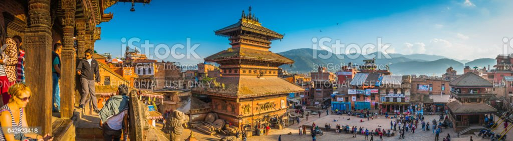 Kathmandu tourists locals ancient temples Bhaktapur Durbar Square panorama Nepal stock photo
