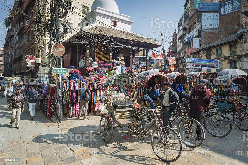 Kathmandu vibrant cycle rickshaws and drivers Nepal royalty-free stock photo