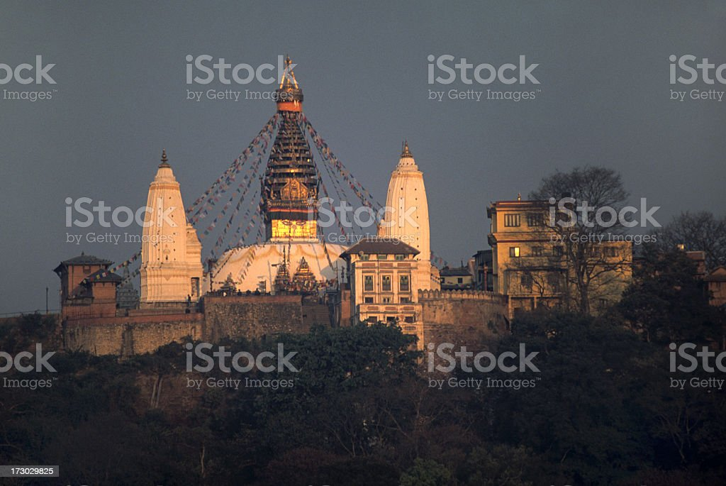 Kathmandu's Monkey Temple stupa in morning sunlight Nepal royalty-free stock photo