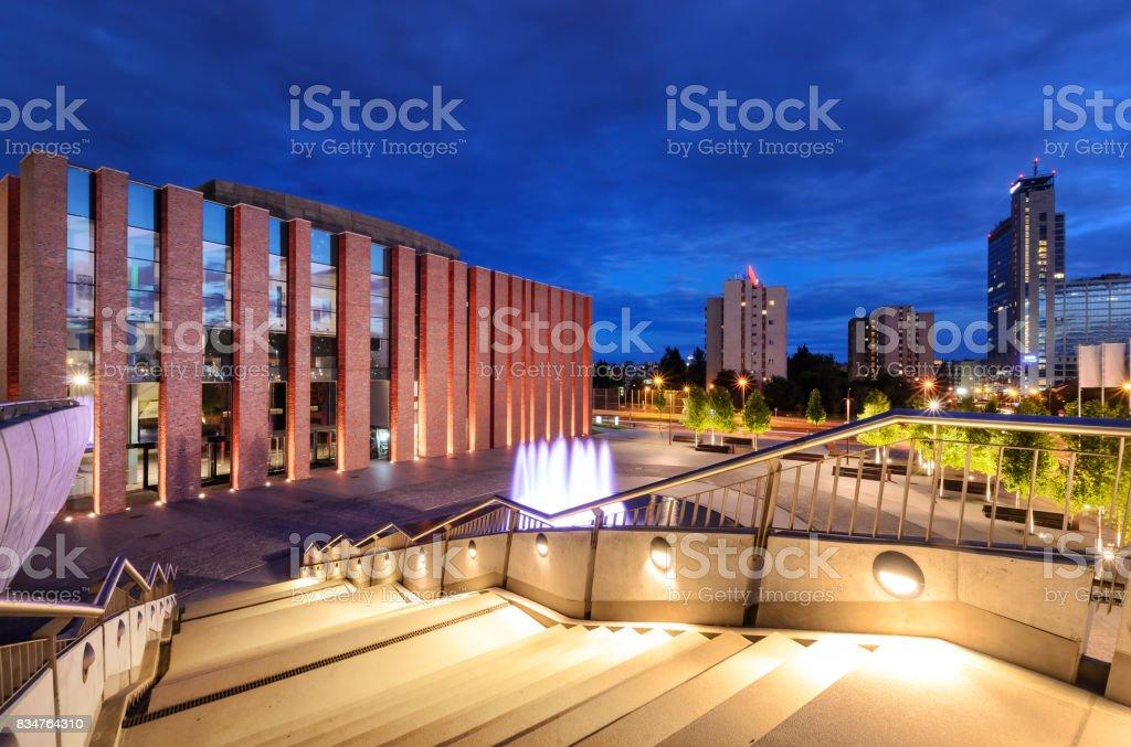 Katowice in the evening. Night city stock photo