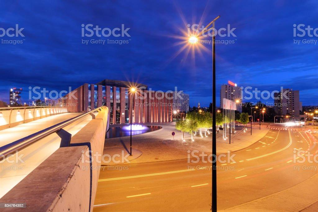 Katowice in the night. Night city. stock photo