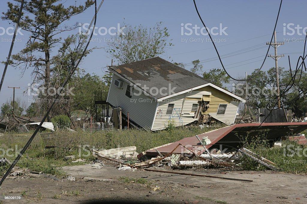 Katrina damaged House off foundation stock photo