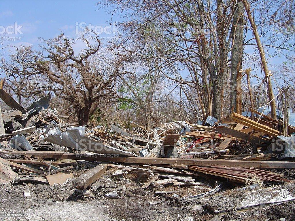 Katrina Hurricane Strikes a Town of Bayview, Mississippi stock photo