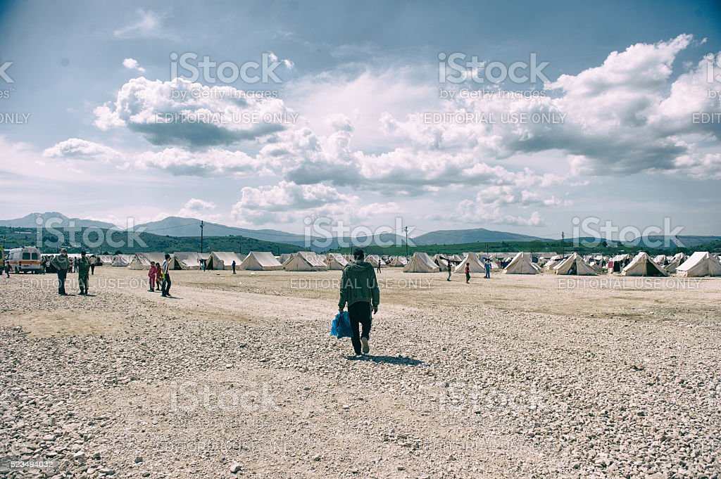Katsikas Refugee Camp in Greece stock photo