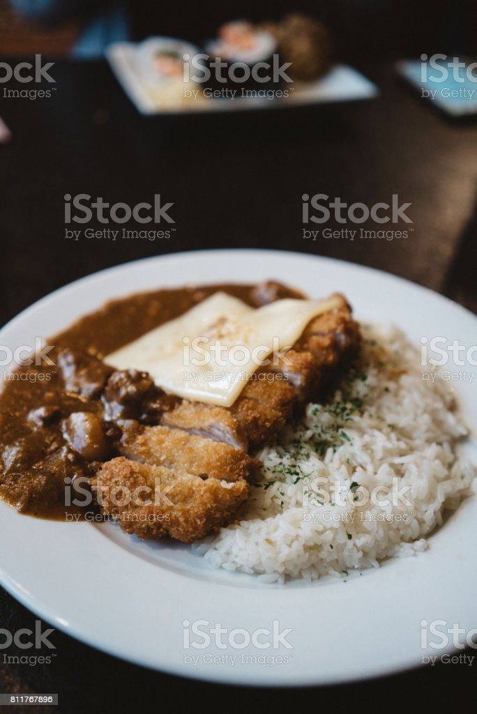Katsu Curry with cheese on rice stock photo
