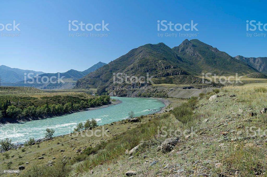 Katun River. Altai Mountains, Russia. stock photo