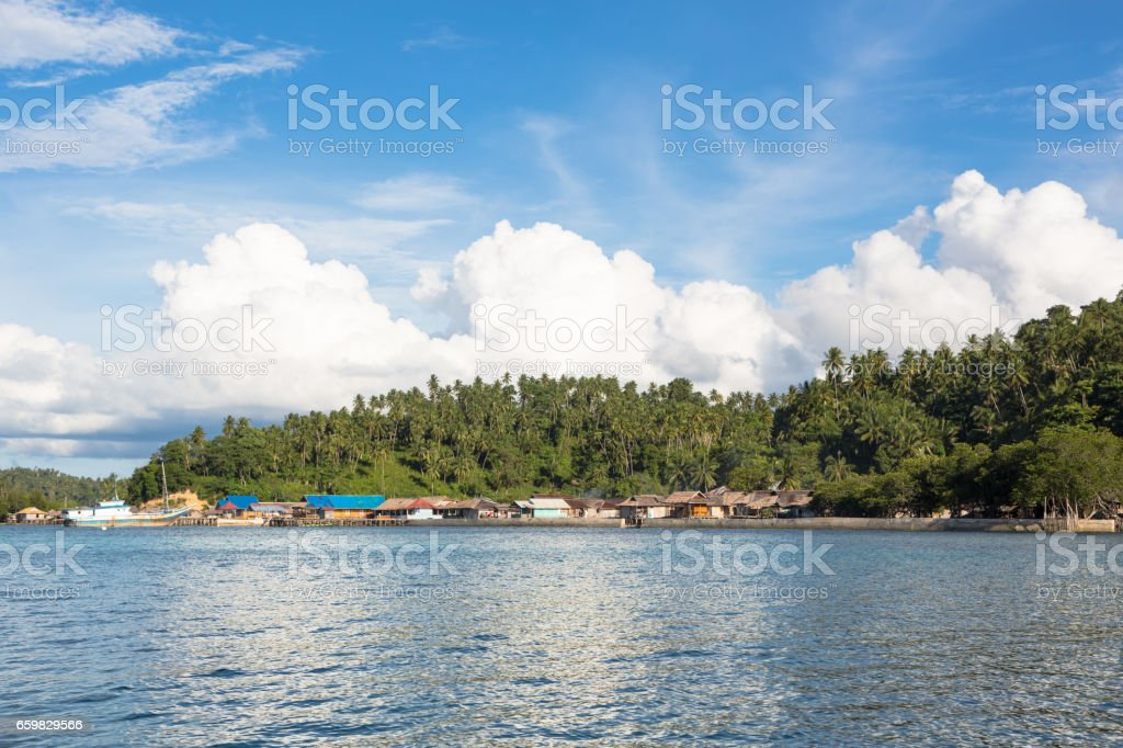 Katupat village in the Togian islands in Sulawesi stock photo