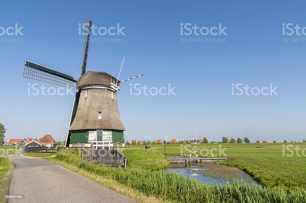 Katwoude wind mill, in Volendam stock photo