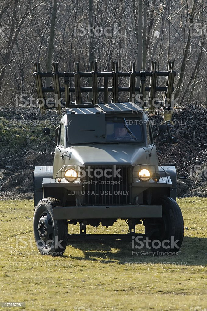 Katyusha multiple rocket launchers stock photo