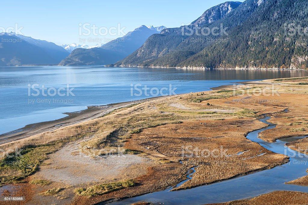 Katzehin river flats in fall stock photo