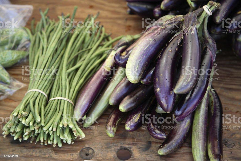 Kauai: Eggplant and Longbeans royalty-free stock photo