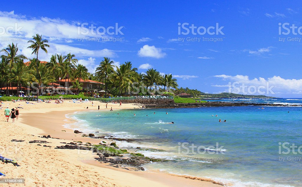 Kauai Hawaii beach front resort tourist scene near Poipu stock photo