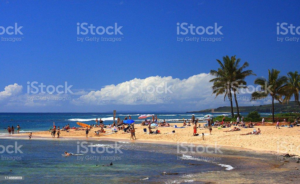 Kauai Hawaii beach front resort tourist scene stock photo