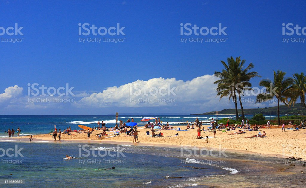 Kauai Hawaii beach front resort tourist scene stock photo