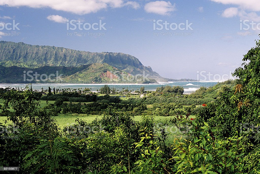 Kauai Hawaii mountain and bay at Hanalei royalty-free stock photo