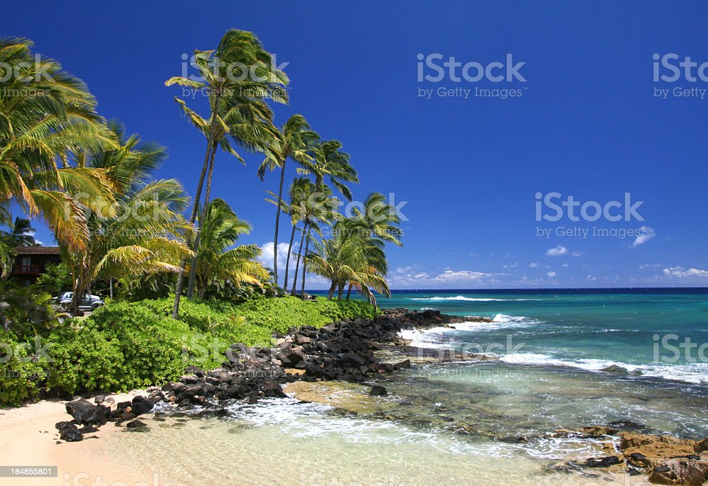 Kauai Hawaii tropical style Pacific Ocean beach scenic stock photo