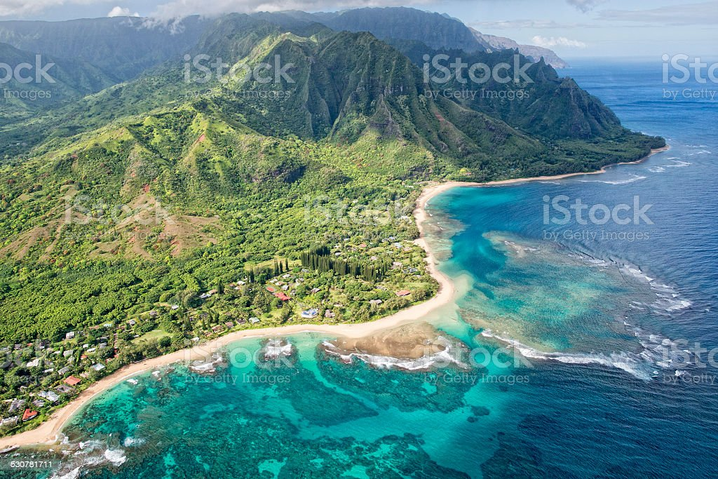 kauai napali coast aerial view from helicopter stock photo