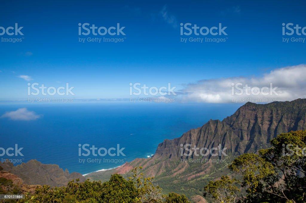 kauai's rugged na pali coast stock photo