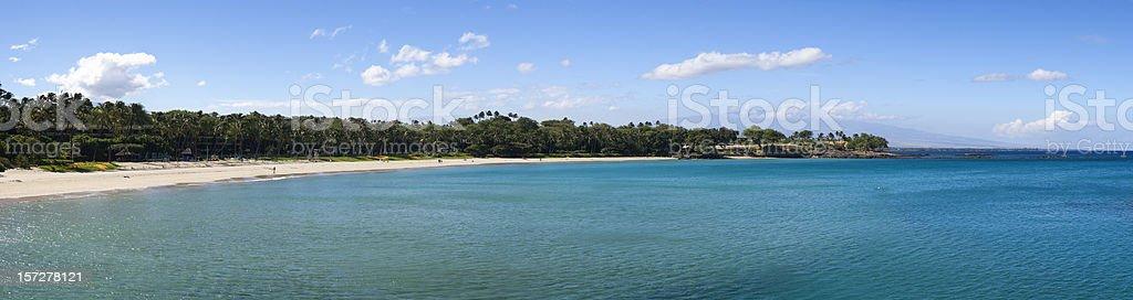 Kauna'oa beach panorama, one of the best beaches in Hawaii stock photo