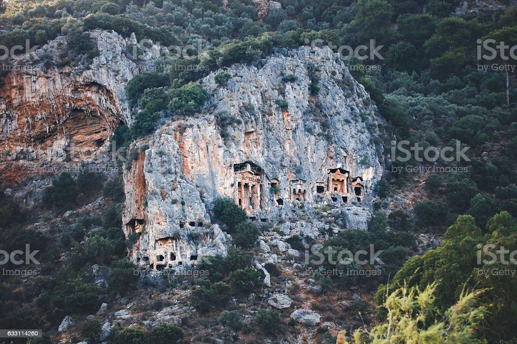 Kaunos King Tombs in Dalyan, Turkey stock photo