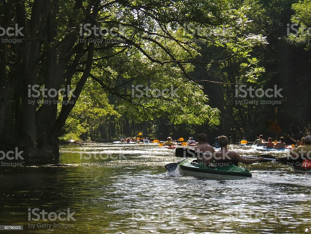 kauyaking on a river stock photo