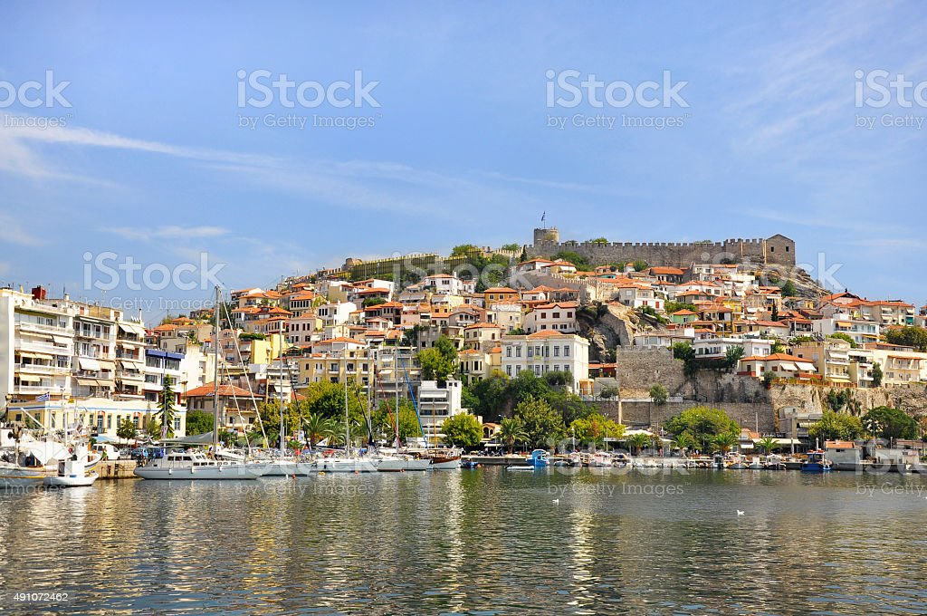 Kavala - the fortress on Panagia hill and the ancient town stock photo