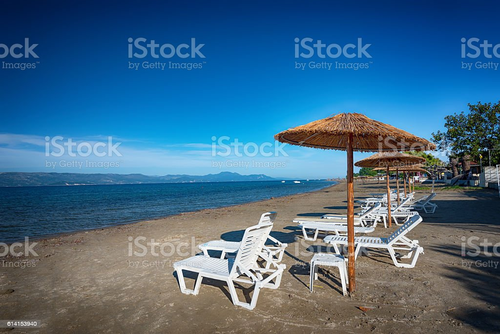 Kavos is a seaside village on the island of Corfu stock photo