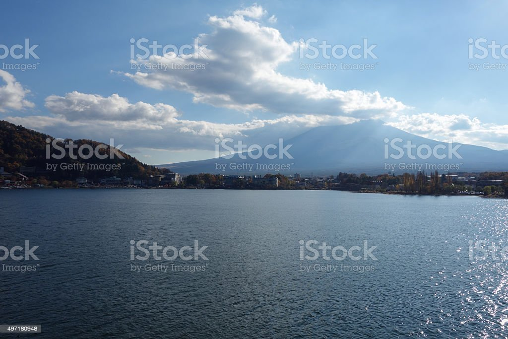 Kawaguchigo Lake in Japan stock photo
