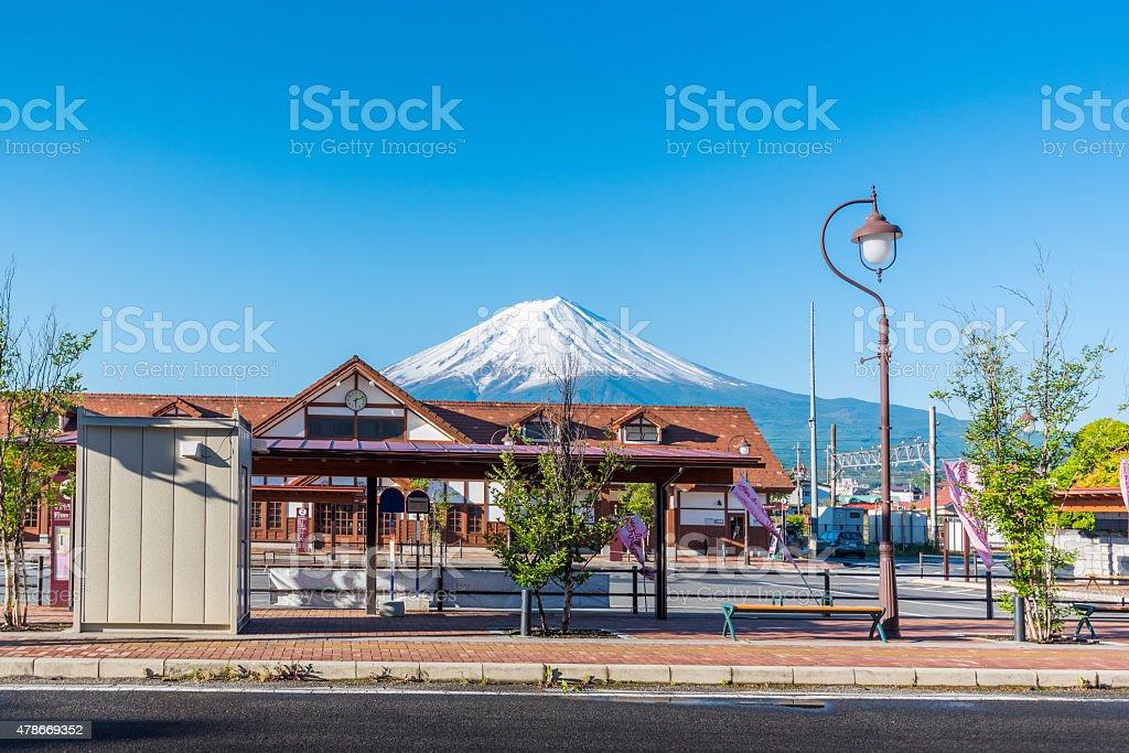 kawaguchiko bus stop with Mount Fuji stock photo