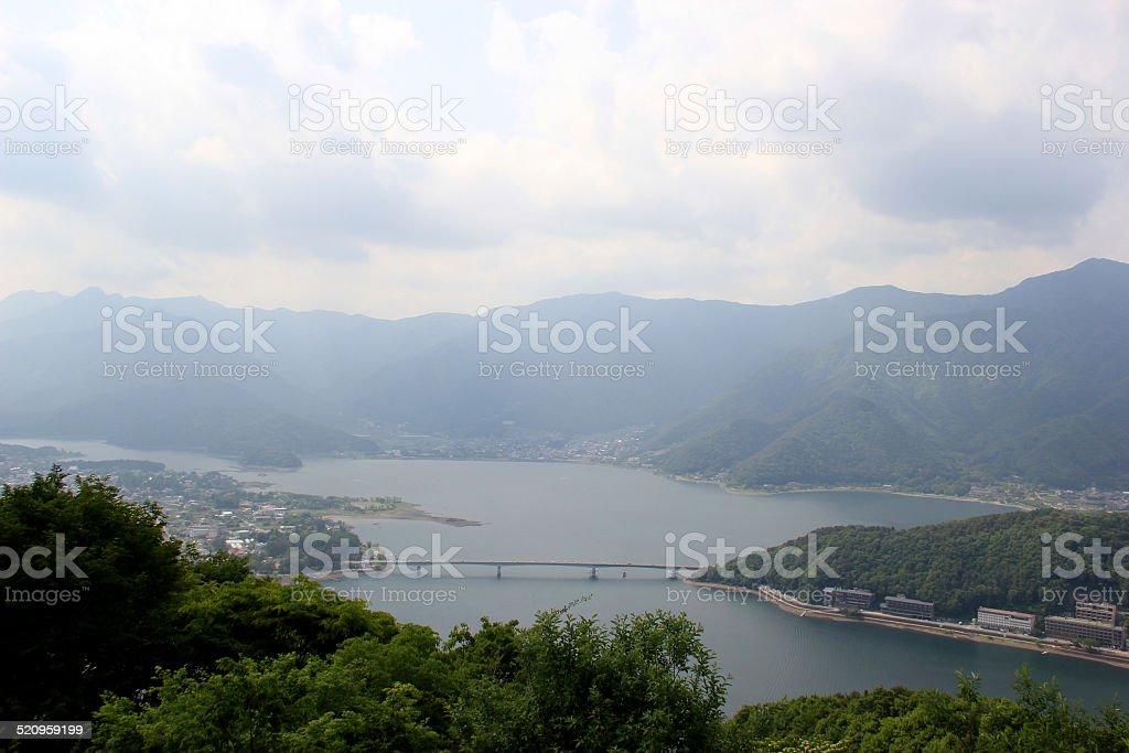 Kawaguchiko Lake Scenery from top of Mount Tenjo stock photo