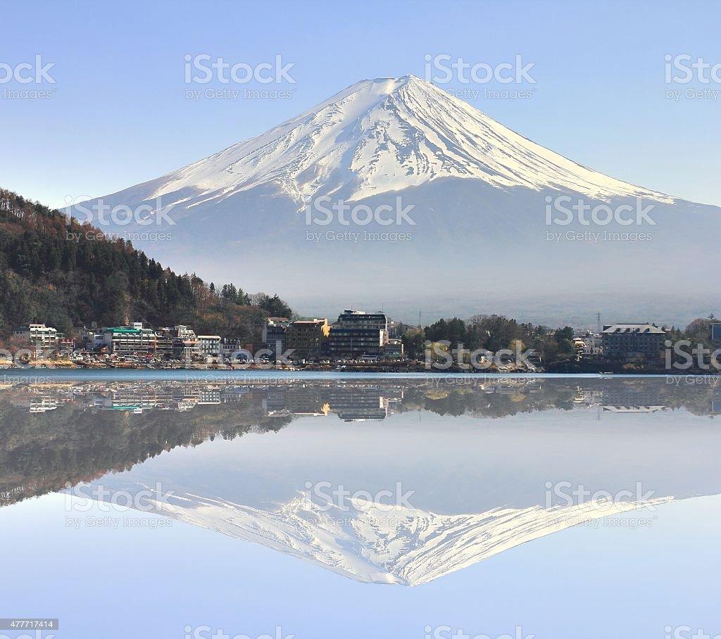 kawaguchiko lake with fuji mountain background in the reflection stock photo