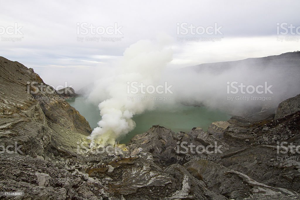 Kawah Ijen steaming crater stock photo