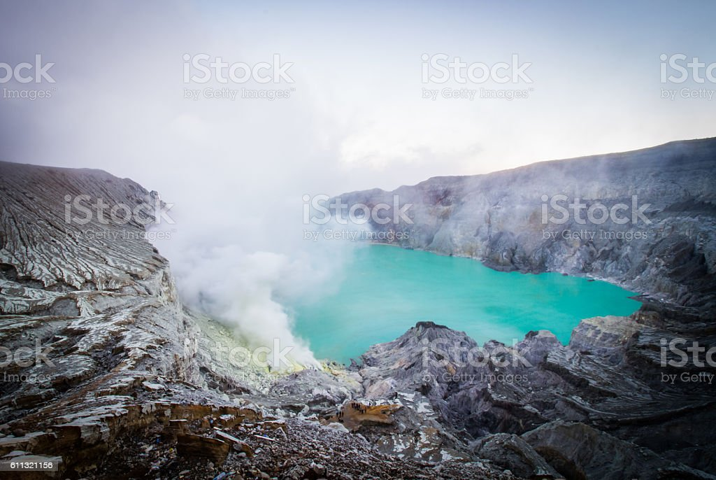 Kawah Ijen sulfur lake stock photo