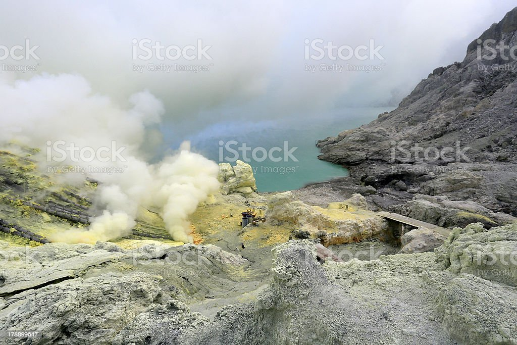 Kawah Ijen Sulfur Mine royalty-free stock photo