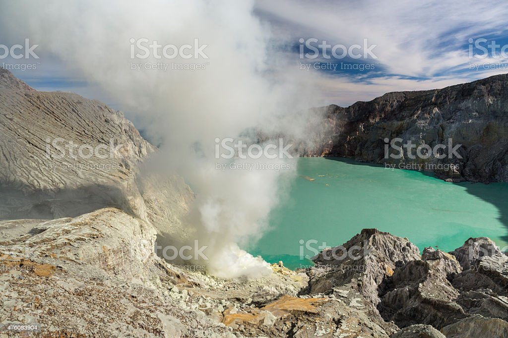 Kawah Ijen volcano with sulfur mining in Indonesia stock photo
