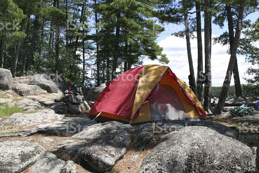 Kawnipi Lake Campsite royalty-free stock photo