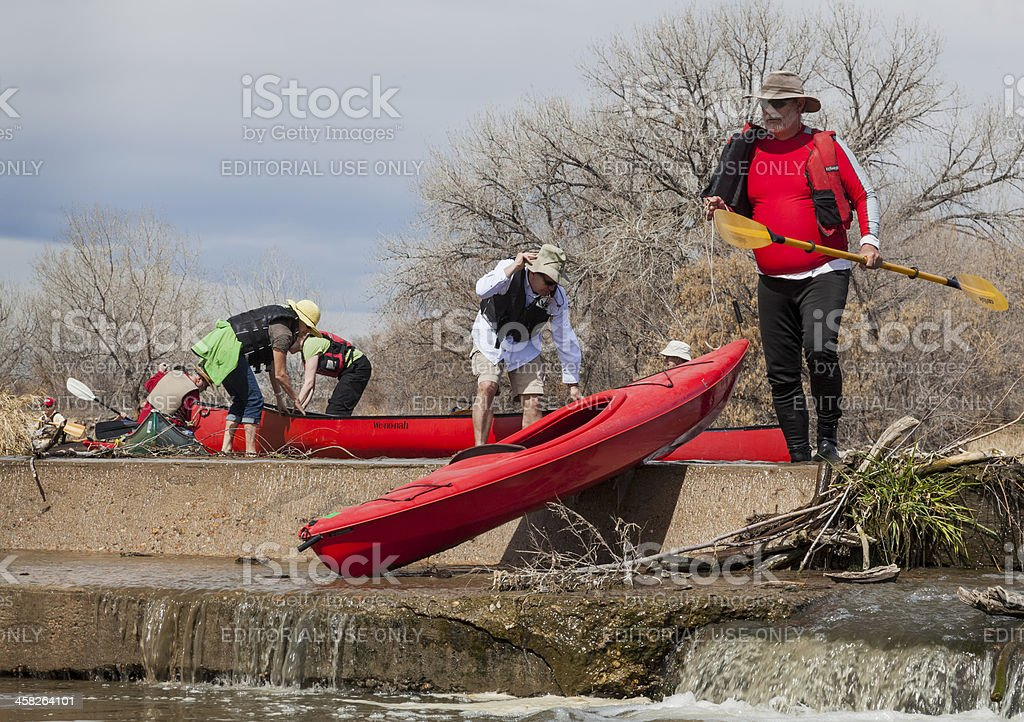 kayak and canoe portaging royalty-free stock photo