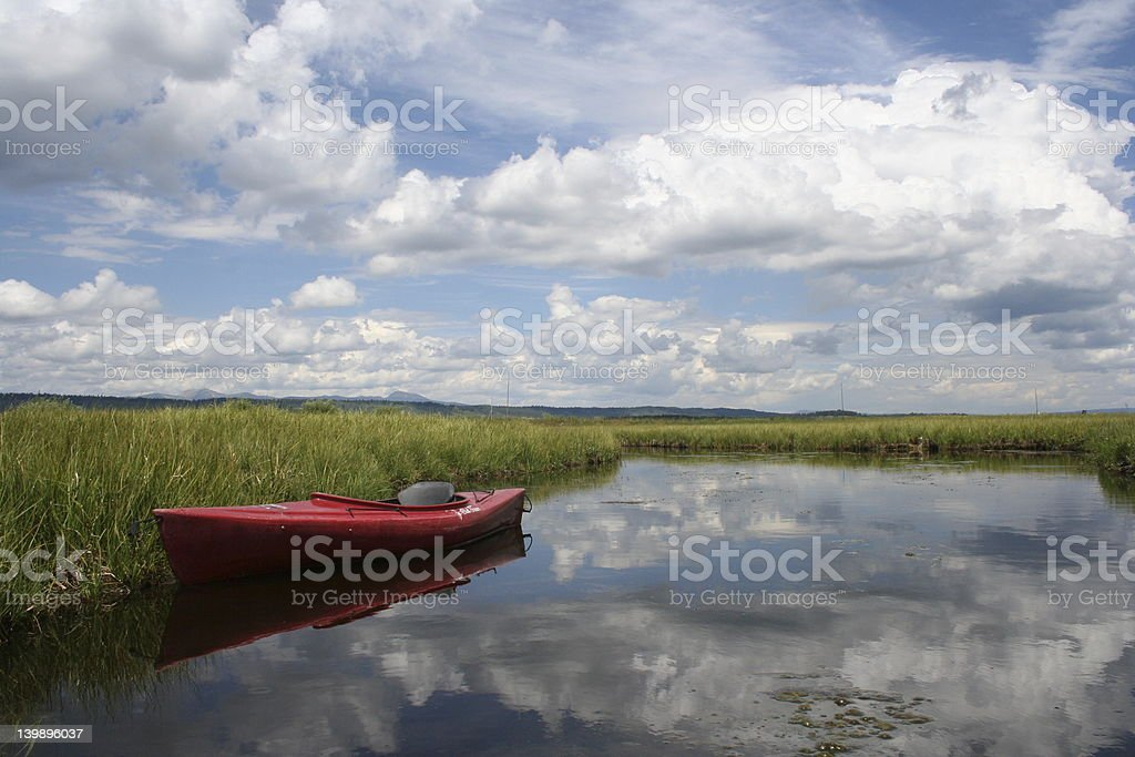Kayak and Idaho sky stock photo