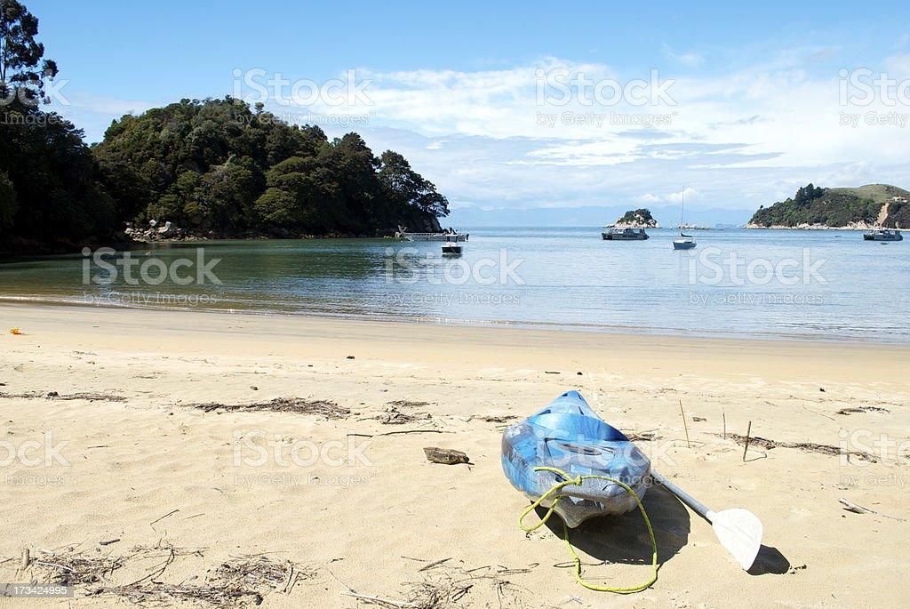 Kayak and Seascape, Kaiteriteri, NZ royalty-free stock photo