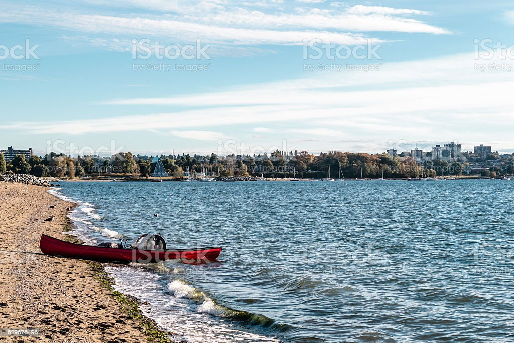 Kayak at Sunset Beach in Vancouver, Canada stock photo