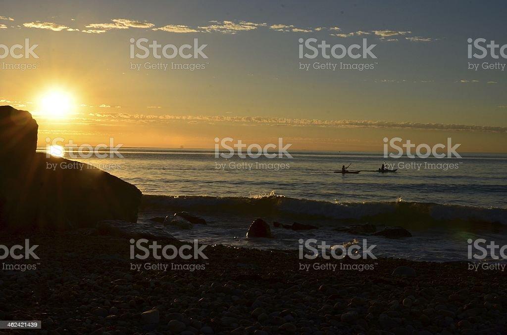 Kayak at Sunset stock photo