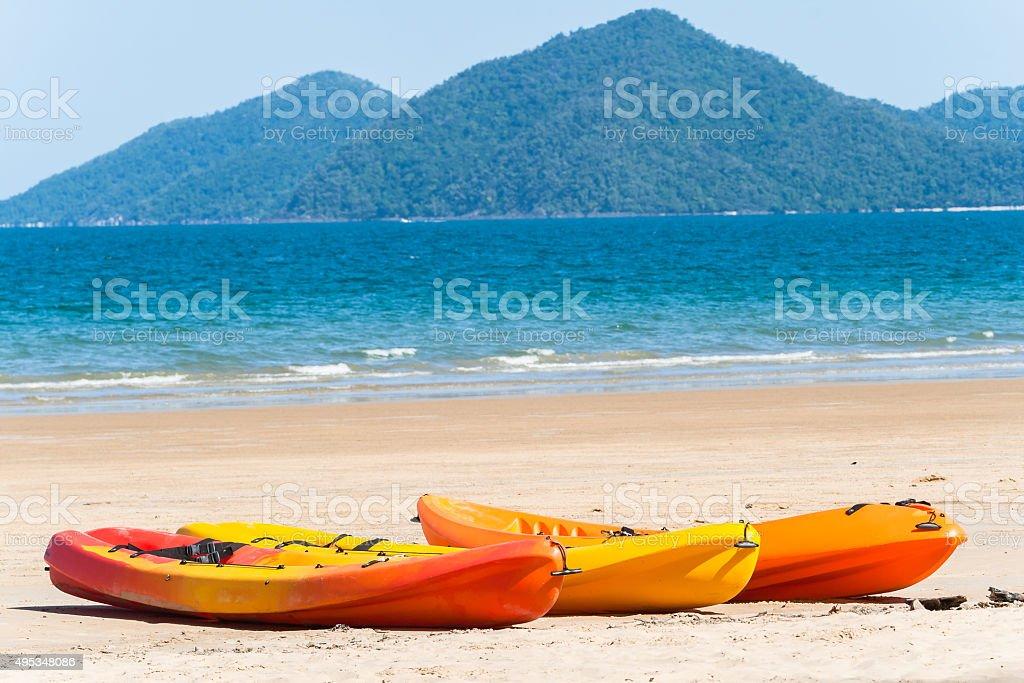Kayak Canoes Beach Ocean stock photo