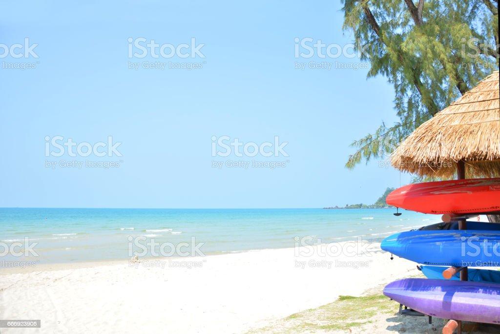 kayak in beautiful beach stock photo