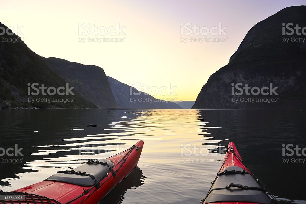 Kayak in Norway stock photo
