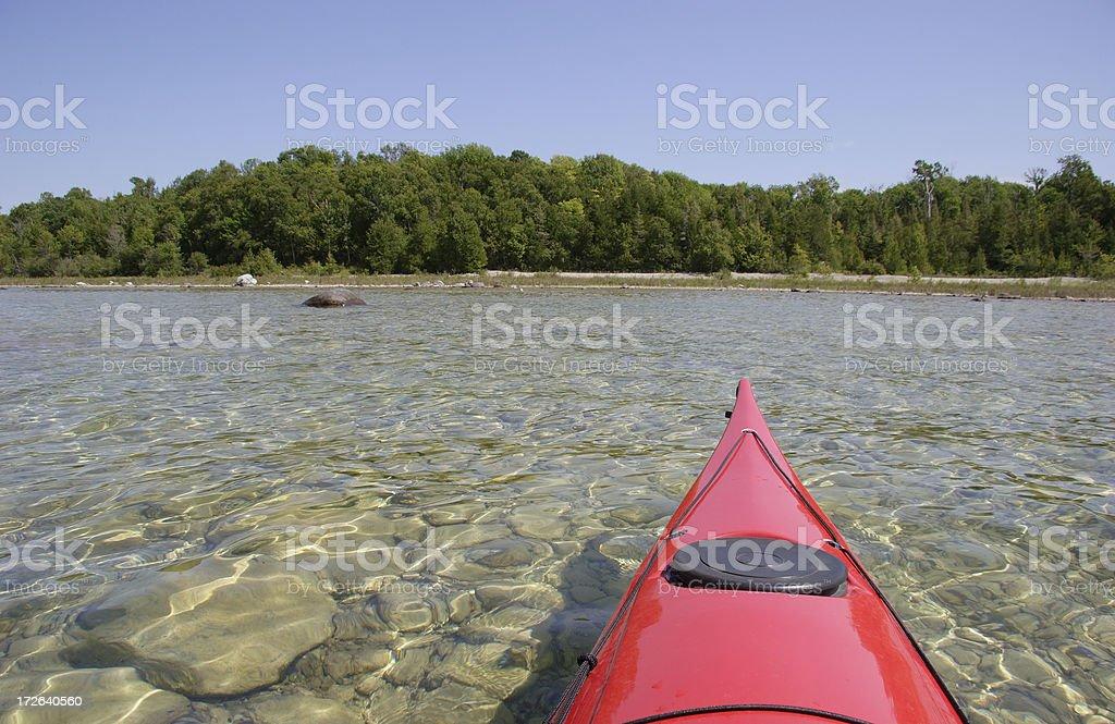 Kayak in Shallow Water royalty-free stock photo