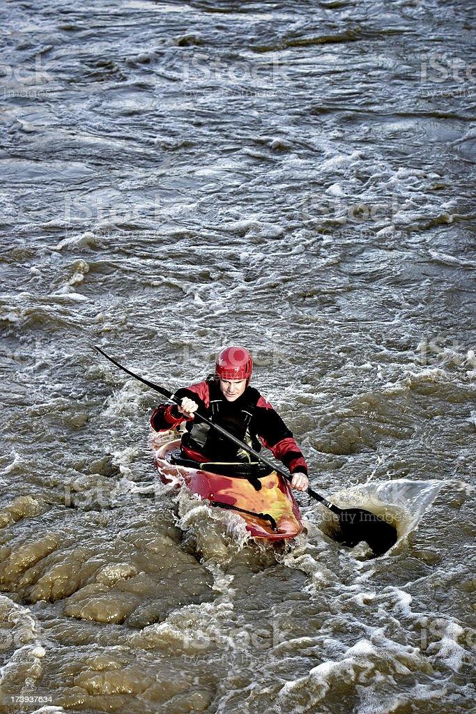 Kayak in white water stock photo