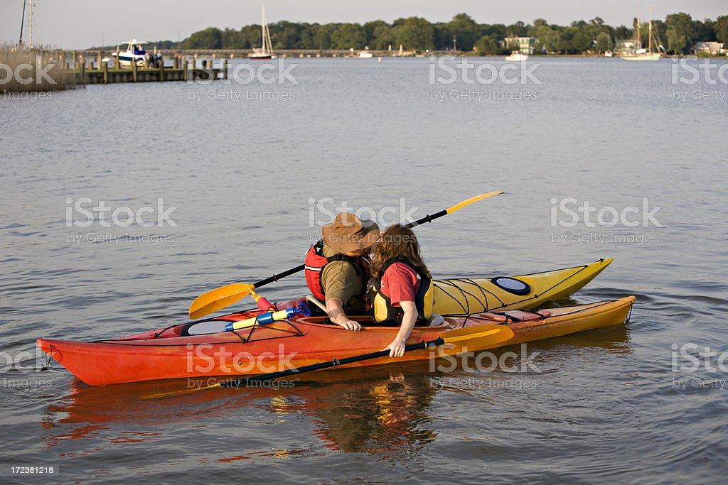 Kayak Kiss stock photo